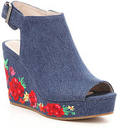 Kenneth Cole New York Olani Floral-Embroidered Denim Platform Wedges