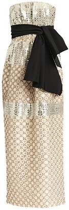 Carolina Herrera Sequin Beaded Strapless Tie-Waist Sheath Dress