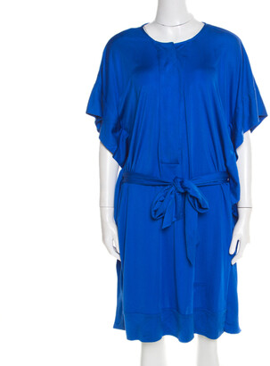 Diane von Furstenberg Cobalt Blue Silk Jersey Belted Tuvallu Kaftan Dress M