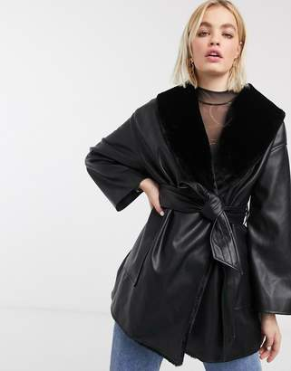 Monki tie waist faux leather jacket with faux fur lining in black