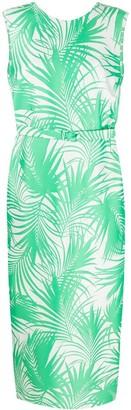 Sara Battaglia Palm-Jacquard Belted Long Sheath Dress