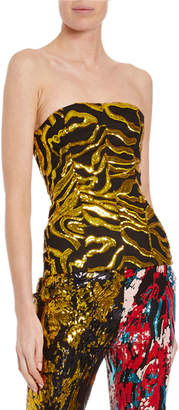Halpern Vine Sequined Strapless Bustier Top