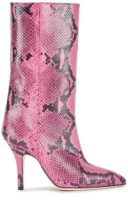 Paris Texas 90 Pink Python-Effect Leather Boots