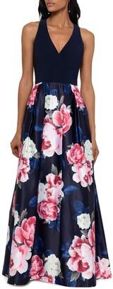Xscape Evenings Floral V-Neck Satin Gown
