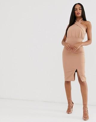 Vesper high neck pencil dress