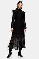 Topshop IDOL Black Pintuck Lace Insert Midi Dress