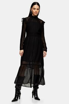 Topshop Womens Idol Black Pintuck Lace Insert Midi Dress - Black