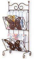 "Bronze Finished 2-Tier Butterfly Magazine Holder Rocker, 12""L x 8""W x 26""H, Brown"