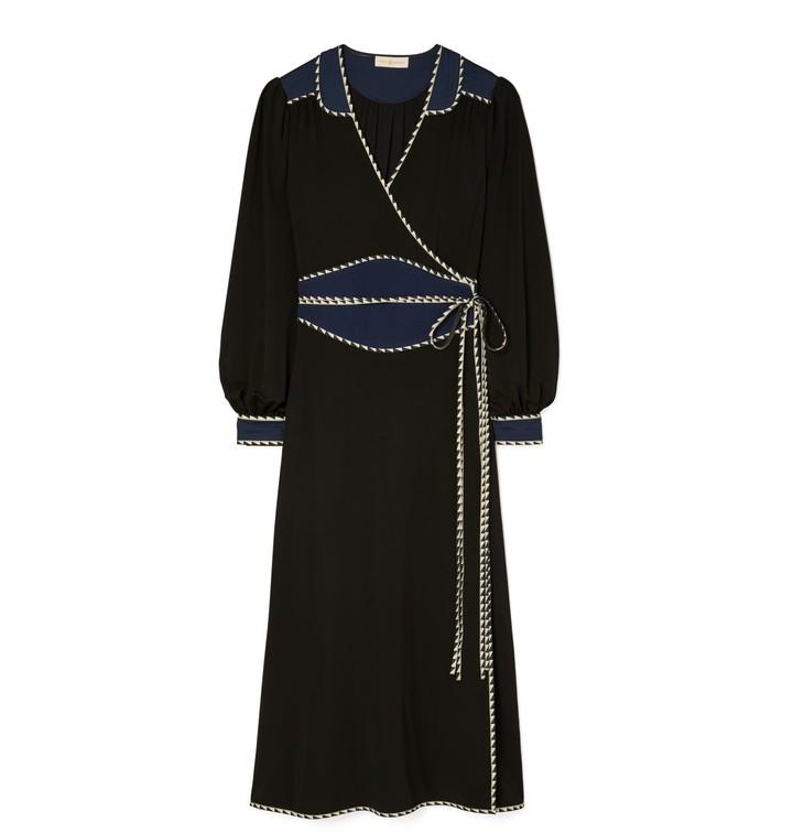 Tory Burch Trapunto Embellished Wrap Dress