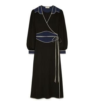 Tory Burch Trapunto Embellished Wrap Dress