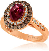 LeVian LE VIAN Raspberry Rhodolite® and Chocolate Diamond®® Ring in 14 Kt. Strawberry Gold®, 0.6 ct. t.w.