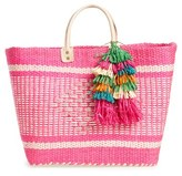 Mar y Sol 'Ibiza' Woven Tote With Tassel Charms - Pink