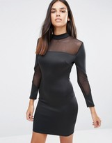 AX Paris Long Sleeve Bodycon Midi Dress With Mesh Inserts
