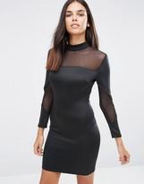 AX Paris Long Sleeve Bodycon Midi Dress With Mesh Inserts