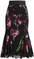 Dolce & Gabbana Fluted Lace-Trimmed Floral-Print Silk-Blend Midi Skirt