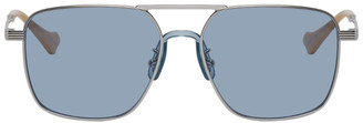 Gucci Silver and Blue Square Aviator Sunglasses