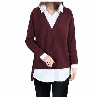 Lazzboy Women Lazzboy Tops Womens Long Sleeve Shirt Knitted 2 in 1 Casual Loose Solid Patchwork Plus Size Pullover Slouch Blouse Jumper Sweater Red