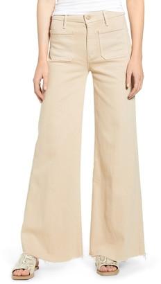 Mother The Patch Pocket Roller High Waist Fray Hem Wide Leg Khaki Pants