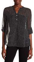 Casual Studio Sheer Polka Dot Roll-Tab Sleeve Blouse