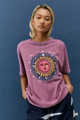 Urban Outfitters Celestial Boyfriend T-Shirt - Pink XS at