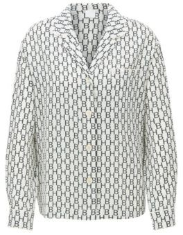 BOSS Pyjama-style blouse in logo-print silk