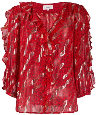 BA&SH leopard print frill blouse