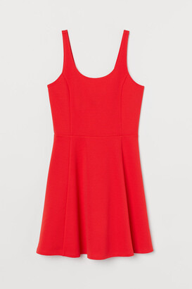 H&M Circle-skirt Jersey Dress - Red
