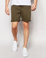 Pull&Bear Denim Shorts In Khaki