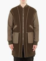 Helmut Lang Khaki Oversized Wool Bomber Jacket