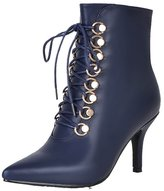 ENMAYER Women's Closed Pointed Toe Thin Heel Leather Solid Zipper Boots With Long Tie 5.5 B(M) US