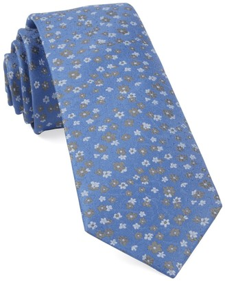Tie Bar Free Fall Floral Light Blue Tie