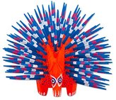 Novica Blue Red Animal Themed Natural Fiber Sculpture, 'Cute Porcupine In Red'