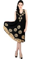 Trendzart Floral Theme Batik Embroidered Sleeveless Umbrella Tunic Blouse