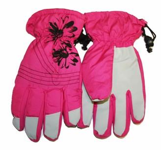 Socks Uwear Ladies Printed Waterproof Ski Thermal Lined Warm Winter Weather Snow Gloves GL47 - Pink - Large
