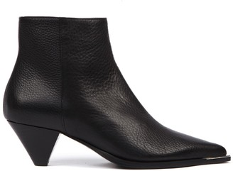 Aldo Castagna Black Hammered Leather Ankle Boot