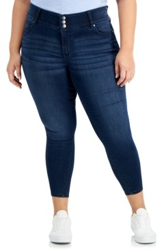 Celebrity Pink Trendy Plus Size Three-Button Skinny Ankle Jeans