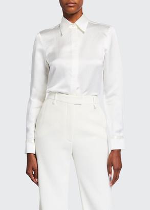 Gabriela Hearst Cruz Silk Long-Sleeve Collared Shirt