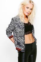 Boohoo Lara Leopard Print Woven Sports Bomber Jacket
