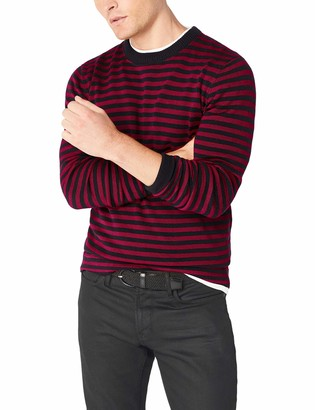 French Connection Men's Long Sleeve Stripe Crew Neck Sweater