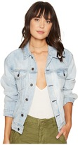 Free People Paisley Quilted Denim Jacket Women's Coat