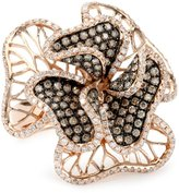 KC Designs Blossom 14K Rose Gold, White and Champagne Diamond Floral Ring