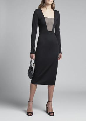 Giorgio Armani Striped-Bodice Jersey Bodycon Dress