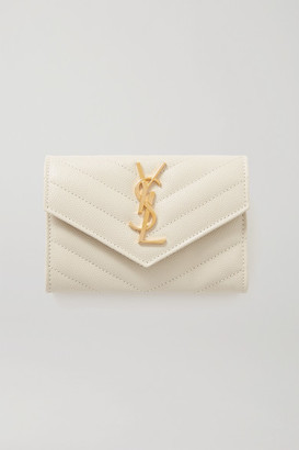 Saint Laurent Quilted Textured-leather Wallet - Off-white
