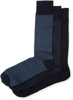 Neiman Marcus Three-Pair Wardrobe Sock Set, Navy