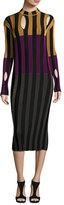 Nina Ricci Cutout Striped Mock-Neck Dress, Multi