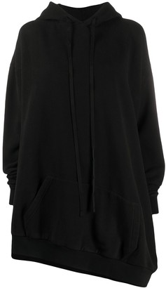 Unravel Project Asymmetric-Hem Drawstring Hoodie