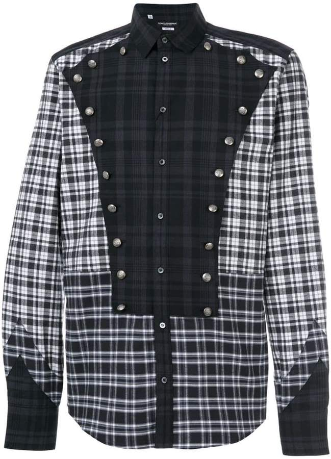 Dolce & Gabbana button detail checked shirt