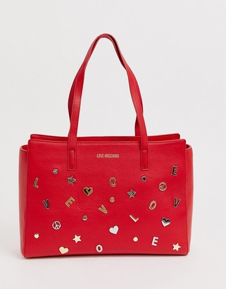 Love Moschino charm stud faux leather tote bag-Red