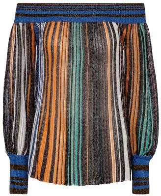 Missoni Metallic striped off-the-shoulder top