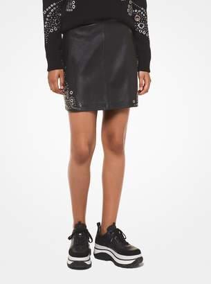 MICHAEL Michael Kors Paisley Grommeted Leather Skirt